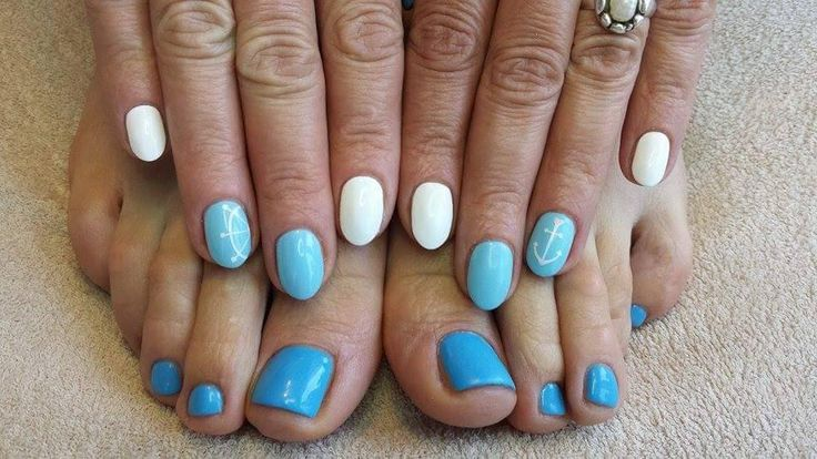 blue nails pedicure manicure