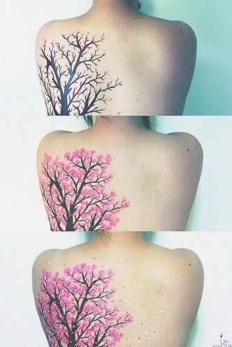 I want a tree piece on my back that has the look of this, but completely inked in important words to form the shape of it.