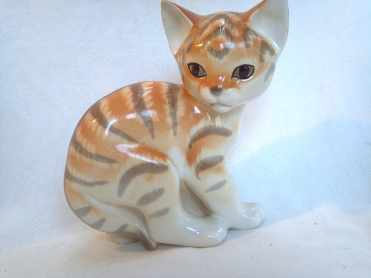 Lomonosov Kitten Cat Figurine Soviet Porcelain USSR Russia Orange Tabby Figural