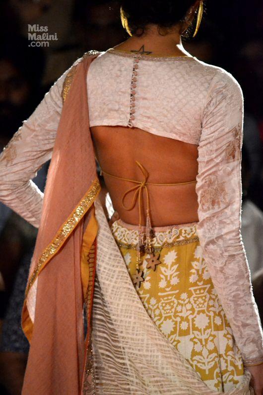 saree blouse designed by Anju Modi at Delhi Couture Week 2013