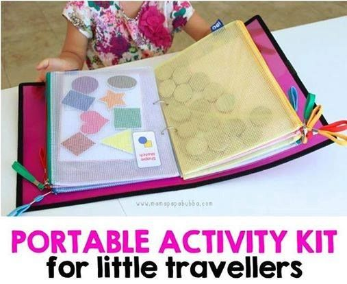 ACTIVITY KITS FOR TRAVEL  http://mamapapabubba.com/2014/05/22/portable-activity-kit-for-little-travellers/  There's also this one for kids who like robots, cars and dines:  http://mamapapabubba.com/2014/06/14/portable-activity-kit-for-little-boys/