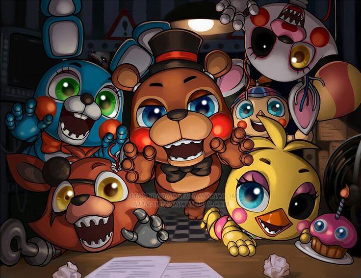 Bonnie, Freddy, chica y Foxy Sean metido en mi cabeza lo he visto en los pasillos con su mirada siniestra solo tengo esta linterna y va muy despacio el reloj......