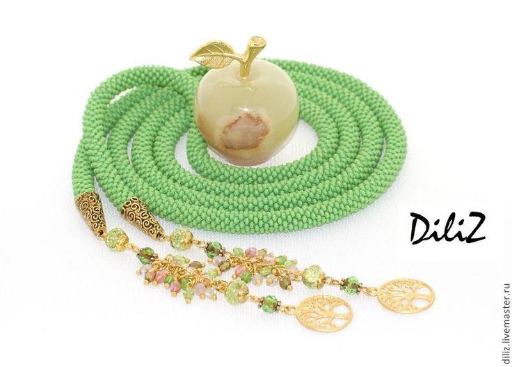 """Купить Лариат """"Зеленый чай"""" - ярко-зеленый, лариат, лариат из бисера, лариаты, зеленый"""