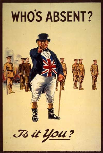 "WWI British Propaganda Poster, featuring the portly ""patriotic"" British figure (the National personification of Britain; roughly equivalent to the American Uncle Sam) John Bull. He was depicted as everything that was seen as being (for the time) the best about Britain: a middle-aged fat, rich country squire, who said what he thought and never apologised. I'm not sure if some John Prescott-type would persuade me to throw down my life in a cold, wet trench, but times were different back then."