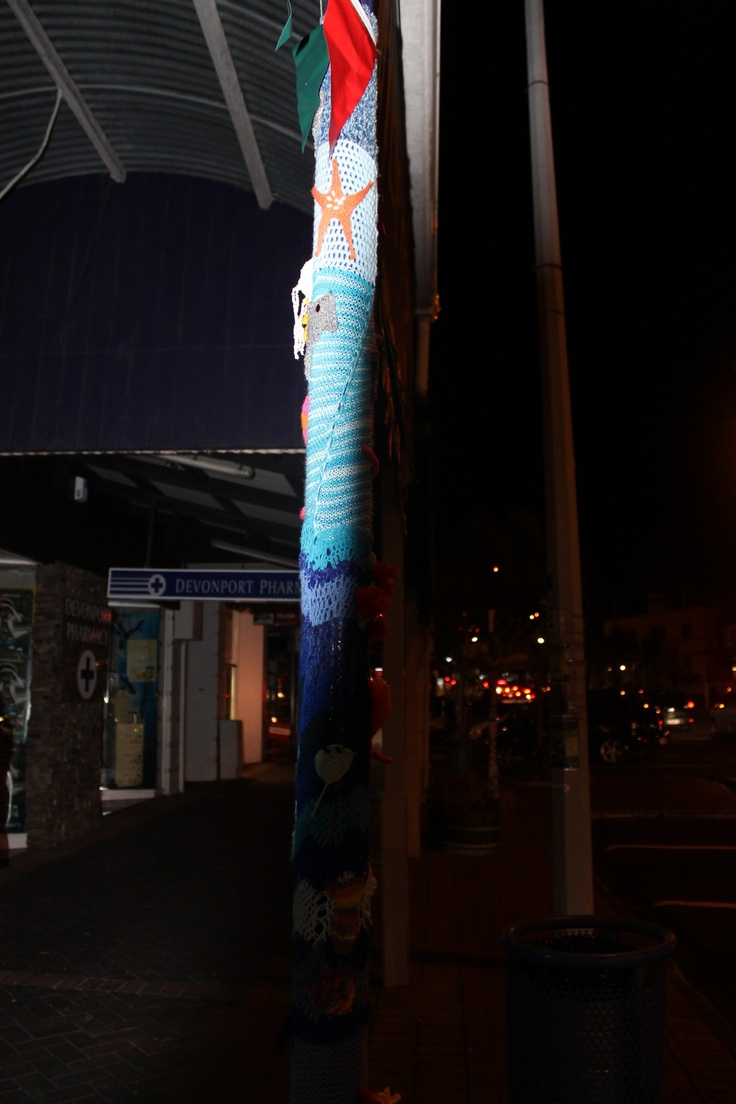Yarn Bombing in Devonport, New Zealand
