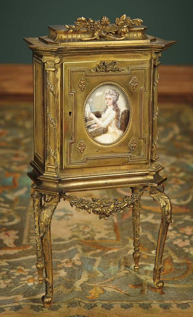 """For the Love of the Ladies"" - October 1-2, 2016 in Phoenix, AZ: 137 French Bronze Miniature Cabinet with Painting ""Mme Elisabeth Jouant au Piano"""