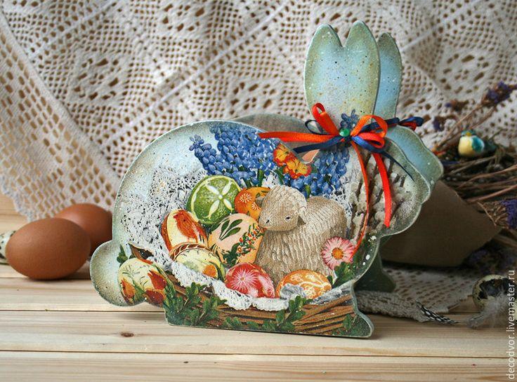 Купить Короб Пасхальный кролик - голубой, Пасха, пасхальный подарок, короб для яиц, хранение, конфетница