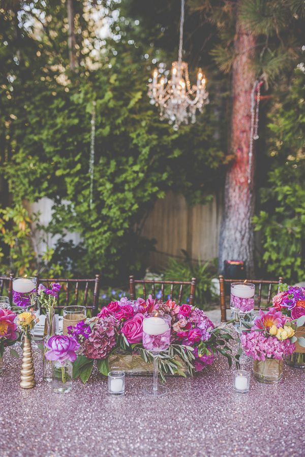 Tahoe Lakefront Wedding with bright pink accents