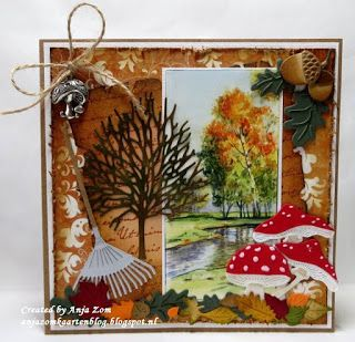 Card made by DT member Anja with Creatables Mushrooms (LR0372), Acorn with Leaf (LR0373), Garden Rake (LR0374), Tiny's Tree & Leaf (LR0375) and Craftables Parchment (CR1254) by Marianne Design