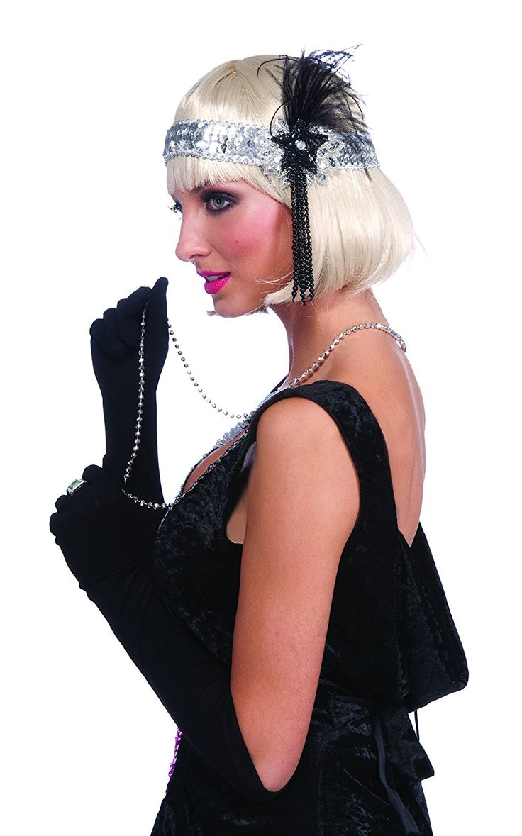 1920s Flapper Accessories Set- Pearl Necklace, Black Boa and Headband Costume -- Want to know more, click on the image. #hairdresser