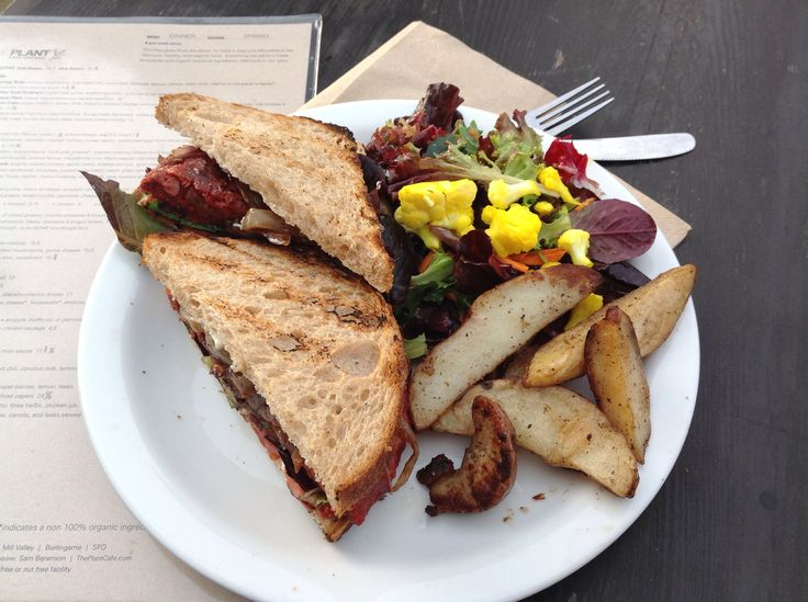 "Delicious ""Plant"" burger at Plant organic café, in San Francisco"