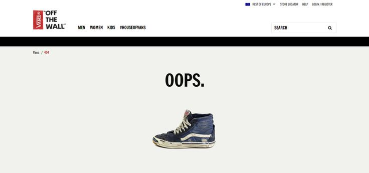 Vans 404 error page