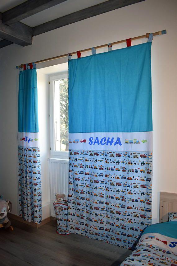 rideaux personnalisés pour chambre garçon véhicule