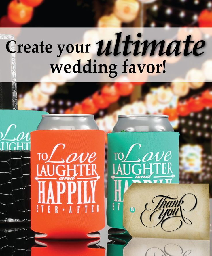 Create your ultimate wedding favor with us  your guests will be thrilled when you provide them with personalized can coolers at your wedding  You will also receive a FREE bride  amp  groom can cooler with every online order   koozies