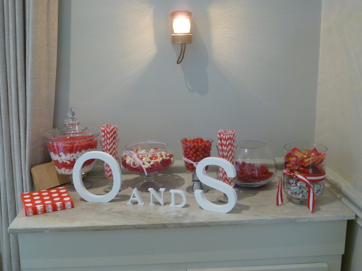 Lolly table at hen's party with red & white theme. Great fun.