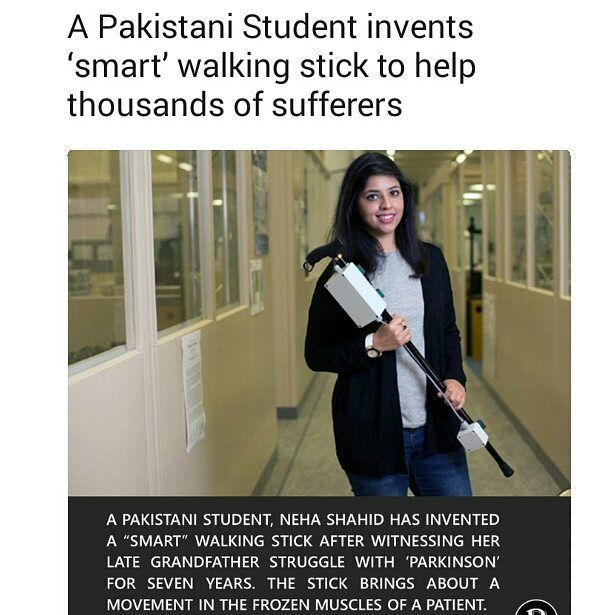A Pakistani Student Neha Chaudhary at University of West England derives a Solution to Cure Parkinson Disease  The invention of smart stick shall be a revolutionary solution to cure the fatal disease #Parkinson as the stick induces movement in frozen muscles enabling the patients to walk again.  #NehaShahid #NehaChaudhary #Invent #SmartStick  #ProgressivePakistan #GivingBacktoSociety #UniversityOfWestEngland #allaboutpakistan #Pakistan #ProudPakistani #Student