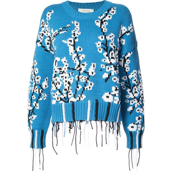 Cedric Charlier cherry blossom sweater found on Polyvore featuring tops, sweaters, blue, blue top, cedric charlier sweater and blue sweater
