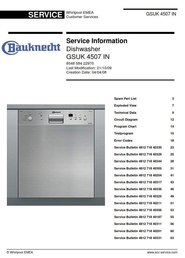 Bauknecht Gsuk 4507 In Dishwasher Service Manual Dishwasher Service Dishwasher Maintenance Jobs