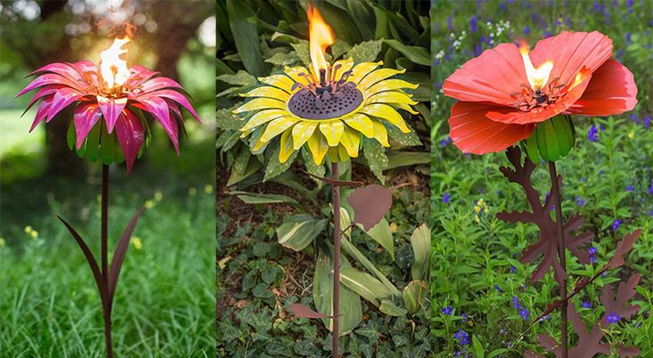These realistic floral garden sculptures crafted from galvanized steel with flaming torch in the center of the bloom.