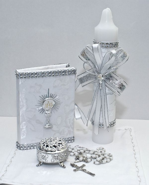 FC6012-first communion candle set, spanish,english,girl,first eucharist