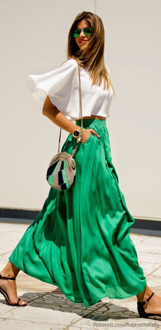 Luv to Look | Curating Fashion & Style: Women' s fashion | Vaporous white top, green maxi skirt, flats