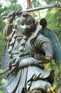 "Tengu ""heavenly phoenix"") are a class of supernatural creatures found in Japanese folklore, Half humanoide, half crow. Legends ascribed to them great knowledge in the art of skilled combat. As well as being the instructors of famous warriors in Japans History. Including the Ninja"