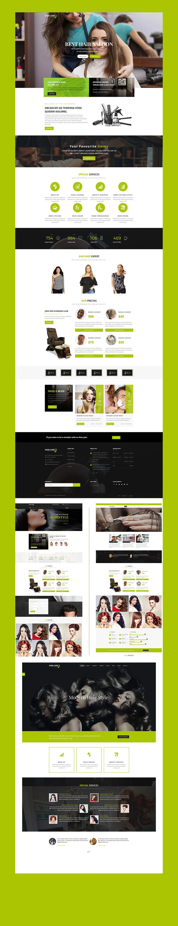 HairCare is a library for Beauty Salon & Barber with predefined web elements which helps you to build your own site.  These theme is suitable for spa, beauty, care, girly, hair, health, beauty parlour, massage, skincare, saloon, make up, physiotherapy, salon, wellness, yoga website.  HairCare theme has a fully responsive layout. It fits perfectly on various displays and resolutions from regular desktop screens to tablets, iPads, iPhones and small mobile devices.
