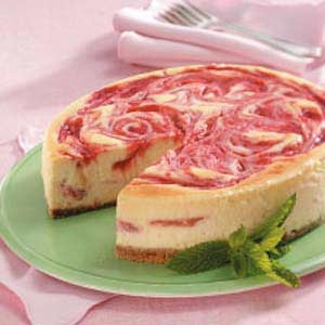 Rhubarb Swirl Cheesecake ( I made this and it was blow your mind good)