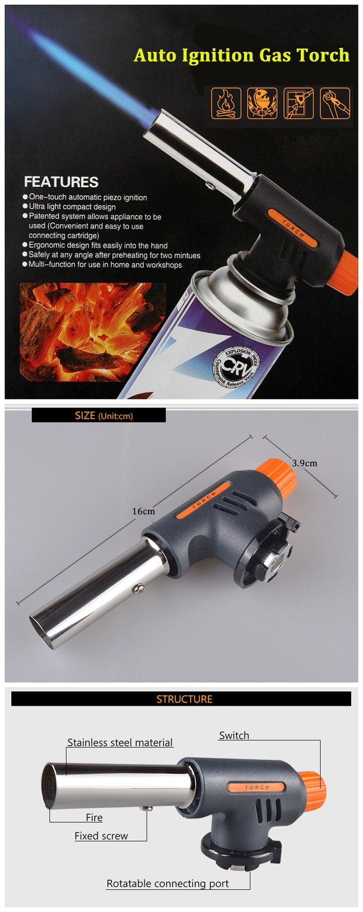 Auto Ignition Flamethrower Gas Torch Camping Welding BBQ Butane Burner Adapter