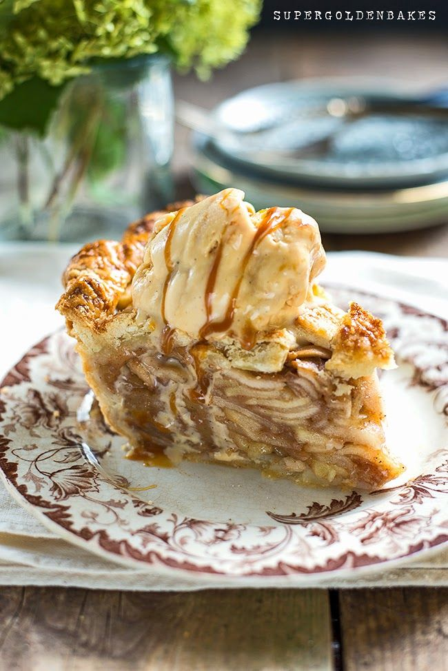 Salted caramel apple pie served with ice cream and caramel sauce | Supergolden Bakes