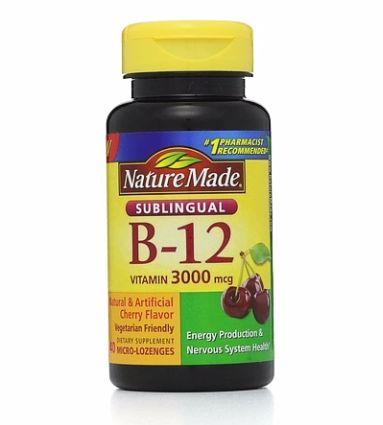 Nature Made Vitamin B-12 3000mcg, Sublingual Lozenges, Cherry 40 ea [031604027193]