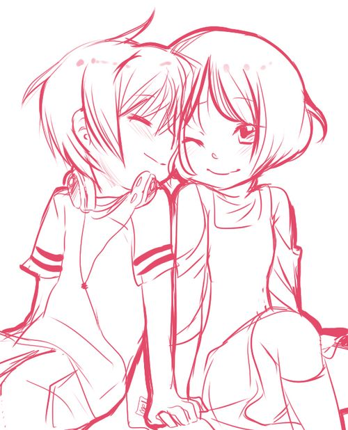 couple anime coloring pages - photo#31