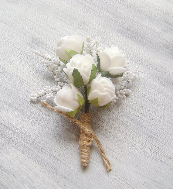 Mens Wedding Boutonnieres Groom Prom Boutonniere Rustic White Rose Flower Floral Lapel Pin Gr Boutonniere Wedding Rustic Boutonniere Boutonniere Wedding Rustic