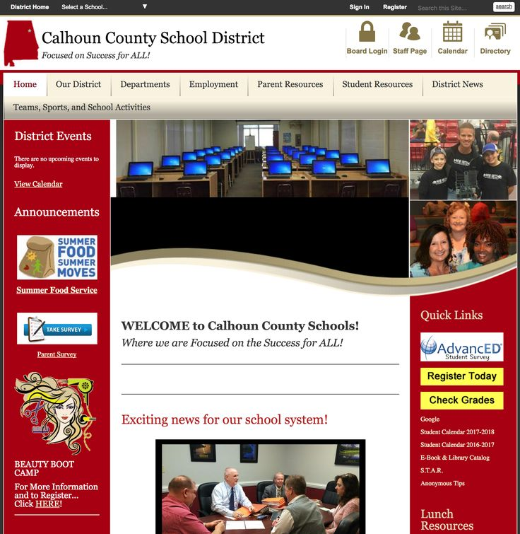 Here is the page for the Calhoun County School District - where you'll find info on our White Plains Schools.