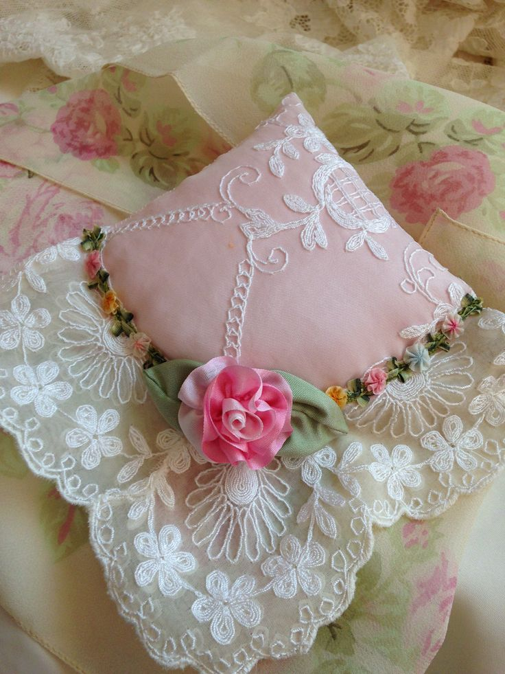 Lace sachet with silk ribbon rose and French flower trim by Kathleen