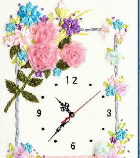 #HomeDecor Wall Clock - 3D #Ribbon Embroidery from Blue Moon Stitch Gallery