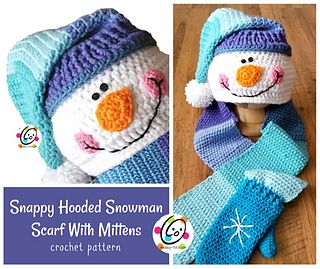 Snappy Hooded Snowman Scarf With Mittens pattern by Heidi Yates