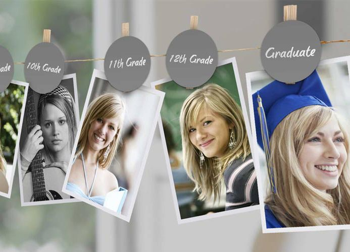 Kodak Moments:  - Display pictures from every grade level or age, ending with graduation.