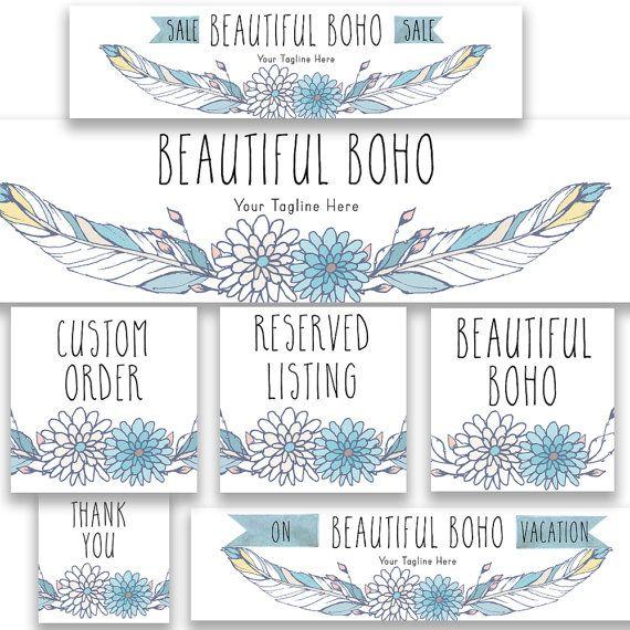Etsy shop graphics set boho feathers new size by RowanTreePrints