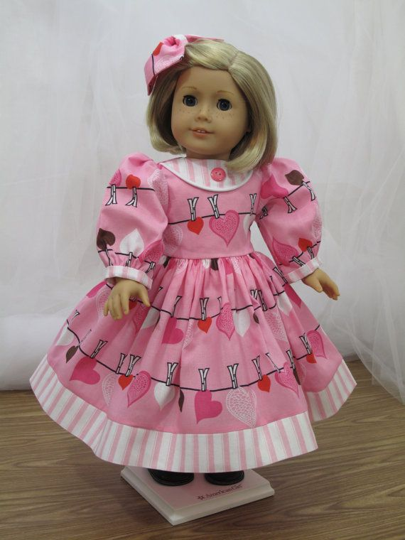 Happy  Valentines  Dress for 18 Doll by blinkersoh on Etsy, $25.00