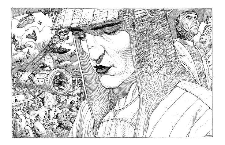 """французском иллюстраторе комиксов Жане Жиро (Jean Giraud, 1938-2012), который публиковал под своим настоящим именем комиксы-вестерны вроде """"Капитан Блюбери"""", а под псевдонимом Мёбиус отрывался на психоделических и футуристических комиксах."""
