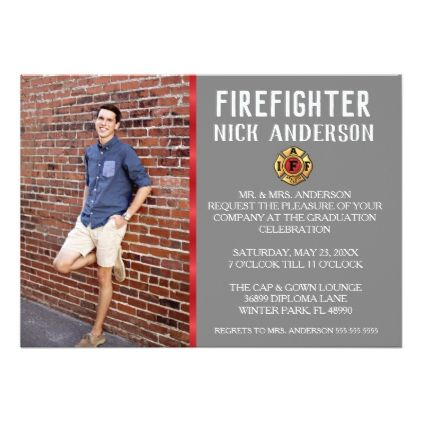 Trendy Firefighter School Graduation Announcement - red gifts color style cyo diy personalize unique