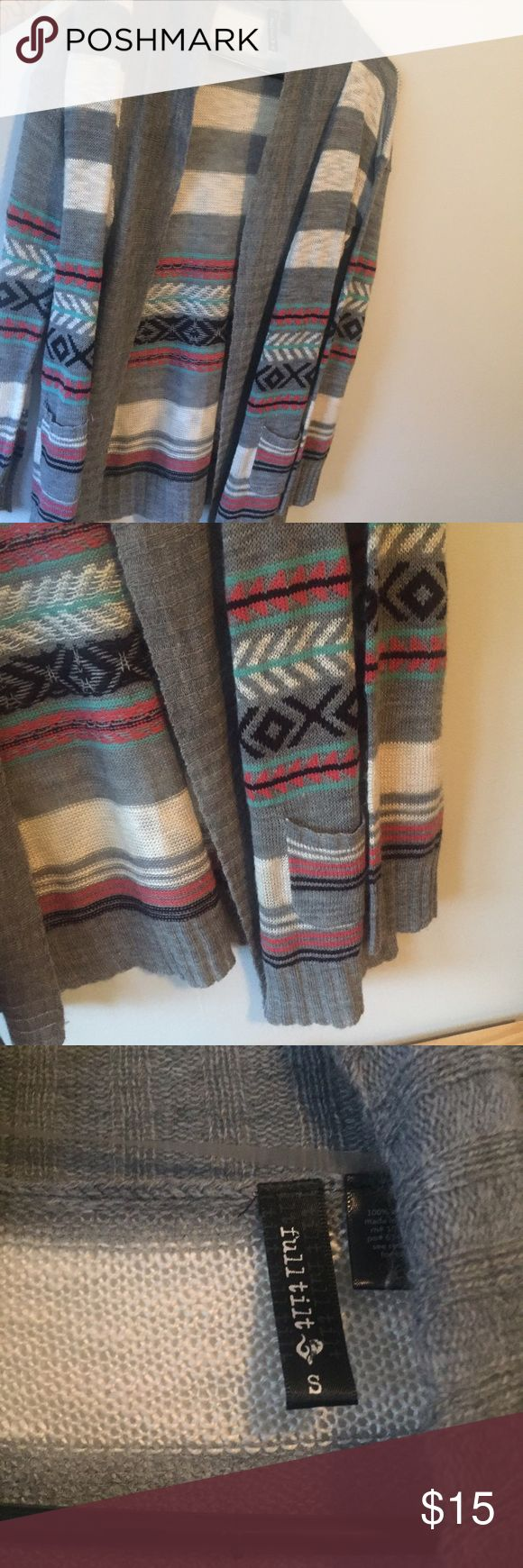 Tribal Sweater Small/ Full Tilt/ Grey, pink, white blue and black open sweater. Only worn once. Full Tilt Sweaters Cardigans