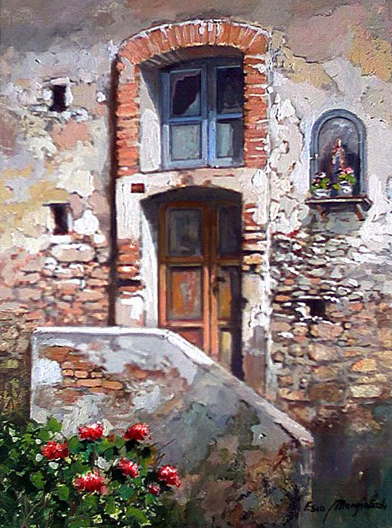 Francis Mangialardi Look at how he has depicted the old chipped bricks and texture on the wall.