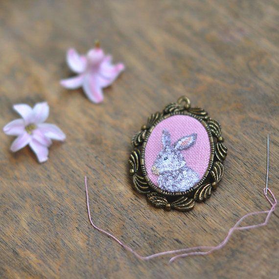 Bunny Jewelry. Bunny Brooch. Bunny Necklace. Rabbit Necklace. Animal Necklace OOAK Necklace. Hand Embroidered. Bunny Gifts. Animal Portrait