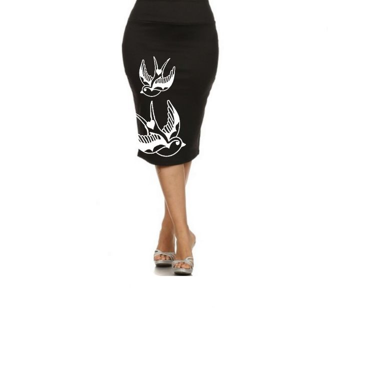 Plus Size Skirt Women's Bird Clothing Pencil Skirts Style Cute Tattoo inspired clothes Punk Pin Up Girl Dresses Swallows prints Small - 2X by BrunoAndBetty on Etsy https://www.etsy.com/listing/474578268/plus-size-skirt-womens-bird-clothing