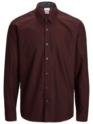 SHAUSTIN - SLIM FIT LANGÆRMET SKJORTE, Oxblood Red