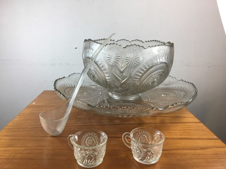 Contemporary Molded Glass Punch Bowl Set
