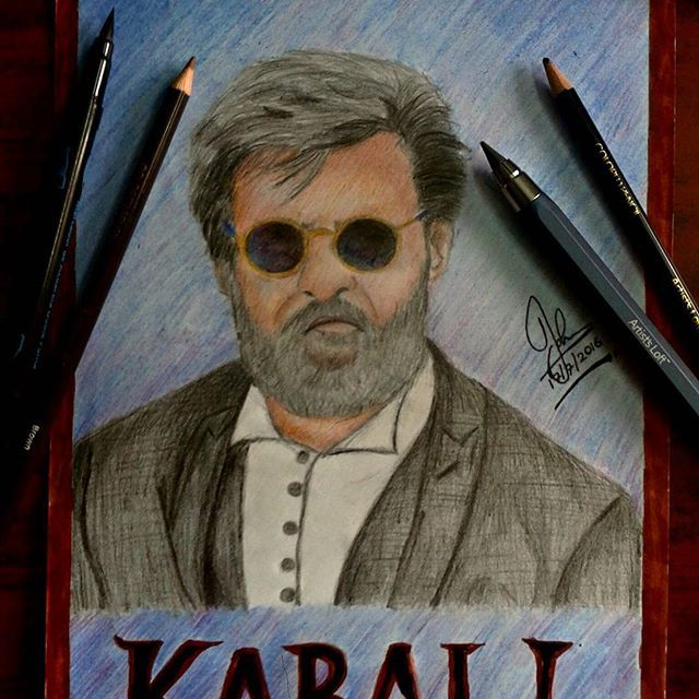 KABALI DA!! Drew using colorpencils. #rajinikanth #kabali #mass #kollywood…