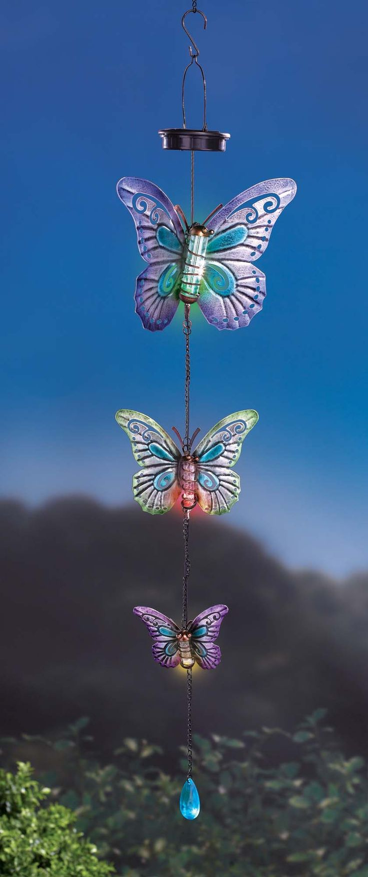 GR Solar Triple-Butterfly Hanging Decor has a LED light in the tube of each butterfly body that lights up when it gets dark, powered by solar panel that holds rechargeable battery #GR #GrasslandsRoad #Metal #Glass #Acrylic #Blue #Purple #Green #Red #Orange #Pink #Black #Hook #Hang #Set #Light #Rechargeable #Battery #Cute #Garden #Decor #GiftIdea #Patio #Deck #Gazebo #Decoration #zulily #zulilyfinds